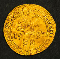 1597 NETHERLANDS UTRECHT.  EARLY DATED GOLD KNIGHT DUCAT COIN. 3.21GM