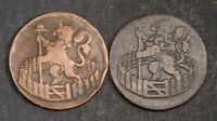 1721/1766 NETHERLANDS HOLLAND. NICE DUTCH COPPER DUIT COINS.  VF/AXF   2PCS