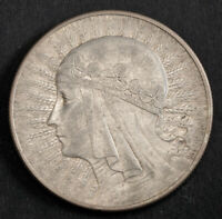1932 POLAND  2ND REP. . LARGE SILVER 10 ZLOTYCH