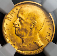 1932 ITALY VICTOR EMMANUEL III. BEAUTIFUL GOLD 50 LIRE COIN. NGC MS 64