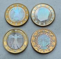 LOT OF 4 1999 2002 HOLOGRAPHIC EURO COINS  FRANCE GERMANY ITALY MONACO  NICE