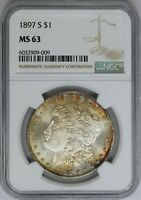 1897-S NGC SILVER MORGAN DOLLAR MINT STATE UNC MINT STATE 63 RIM TONED
