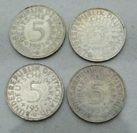 COMPLETE MINTMARK SET OF 4 1951 GERMANY GERMAN FED REPUBLIC SILVER 5 MARK COINS