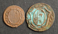 1812/1816 SWITZERLAND. SCHWYZ CANTON . COPPER 1 ANGSTER & 1 RAPPEN COINS. 2PCS