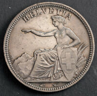 1851 SWITZERLAND  CONFEDERATION . SILVER 5 FRANCS  5 FRANKEN  COIN. XF AU