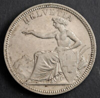 1874 SWITZERLAND  CONFEDERATION . SILVER 5 FRANCS  5 FRANKEN  COIN. XF AU