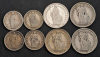 1900 1916 SWITZERLAND  CONFEDERATION . SILVER 1/2 & 1 FRANC COINS.  VF  8PCS