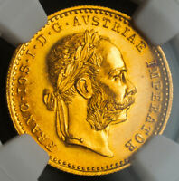 1915 AUSTRIA  EMPIRE  FRANCIS JOSEPH I. GOLD DUCAT COIN. RE STRIKE  NGC MS 66