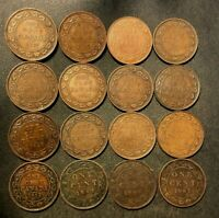 OLD CANADA COIN LOT   1902 1920   LARGE CENTS   16 COINS   L