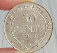 CANADA NEWFOUNDLAND 1919 C STERLING SILVER 50 CENT COIN