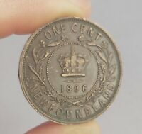 1896 NEWFOUNDLAND LARGE ONE CENT COPPER COIN