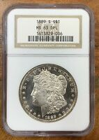 1889-S MORGAN SILVER DOLLAR NGC MINT STATE 63DPLLOOKS R