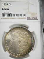 1879 MORGAN SILVER DOLLAR MINT STATE 62 TONED  1001