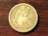 1837 SEATED LIBERTY HALF DIME IN VERY GOOD CONDITION