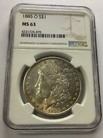 1885-O $1 MORGAN SILVER DOLLAR NGC MINT STATE 63 COLOR