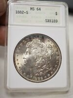 1882 S MORGAN SILVER DOLLAR ANACS MINT STATE 64  8189