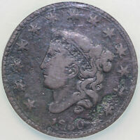 1830 1C N-10 CORONET OR MATRON HEAD LARGE CENT NCS F DETAILS CORRODED EX: REIVER