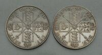 LOT OF 2  1887 GREAT BRITAIN DOUBLE FLORIN SILVER COINS  BOTH VARIETIES