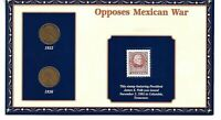 100 YEARS OF LINCOLN COINS & STAMP 1935-1936 OPPOSES MEXICAN WAR