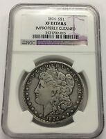 1894 $1 MORGAN SILVER DOLLAR NGC EXTRA FINE  DETAILS IMPROPERLY CLEANED