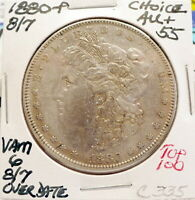 1880-P 8/7 MORGAN SILVER DOLLAR CH AU VAM 6 OVERDATE TOP100  ORIGINAL C335