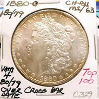 1880-O MORGAN SILVER DOLLAR CH BU/MS, VAM 4 80/79 OVER DATE TOP 100,  C329