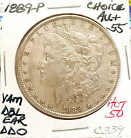 1889-P MORGAN SILVER DOLLAR CH AU, VAM HOT 50 DBL EAR DDO,  ORIGINAL C339