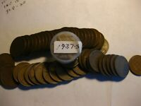 1 ROLL 50 1937-S LINCOLN CENTS AVG. CIR'S