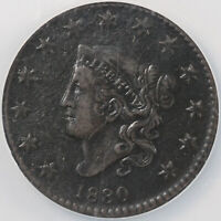 1830 1C LARGE LETTERS N-7 CORONET OR MATRON HEAD LARGE CENT NCS VF DETAILS CRDED