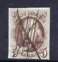 US STAMPS   1   USED   5 CENT 1847 FRANKLIN ISSUE   CV  $350