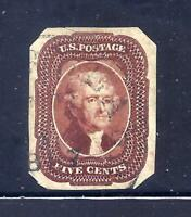 US STAMPS   12   USED   5 CENT JEFFERSON IMPERF ISSUE   CV