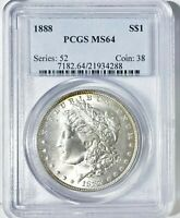 1888 P MORGAN DOLLAR PCGS MINT STATE 64 PRISTINE UNDERGRADE &  HOT 50 VAM 12A CLASHED