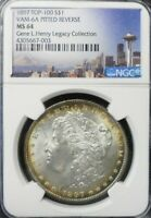 1897-P  MORGAN SILVER DOLLAR NGC MINT STATE 64 TOP- 100  VAM-6A PITTED REV  TONED