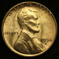 1954 S UNCIRCULATED LINCOLN WHEAT CENT PENNY BU B01