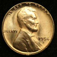1954 S UNCIRCULATED LINCOLN WHEAT CENT PENNY BU B02