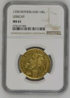 Click now to see the BUY IT NOW Price! 1750 NETHERLANDS UTRECHT 14 GULDEN GOLD RIDER NGC MS61 W/HD VIDEO IN DESCRIPTION