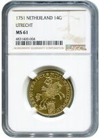 Click now to see the BUY IT NOW Price! 1751 NETHERLANDS UTRECHT 14 GULDEN GOLD RIDER NGC MS61 W/HD VIDEO IN DESCRIPTION