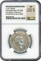 167 148 BC MACEDON UNDER ROME 1ST MERIS TETRADRACHM NGC AU 5/4 HD VIDEO IN DESCR