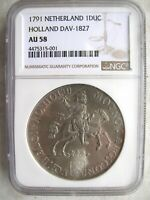 1791 NETHERLANDS HOLLAND DUCATON SILVER RIDER NGC AU58 W/HD VIDEO IN DESCRIPTION