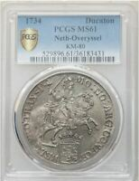 Click now to see the BUY IT NOW Price! 1734 NETHERLANDS OVERIJSSEL DUCATON SILVER RIDER PCGS MS61 W/HD VIDEO IN DESCR