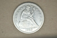 1849 SEATED LIBERTY DOLLAR  BRIGHT AU  FROM LOCAL AUCTION