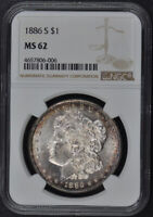 1886-S MORGAN DOLLAR S$1 NGC MINT STATE 62
