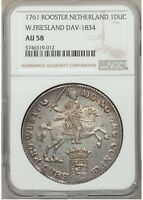 1761 NETHERLANDS WEST FRIESLAND DUCATON SILVER RIDER NGC AU58 W/HD VIDEO IN DESC