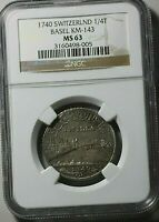 1740 SWISS CANTONS BASEL 1/4 THALER NGC MS63 SILVER CITY VIEW AND WINGED DRAGON
