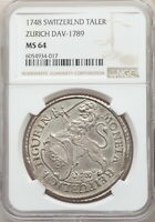 Click now to see the BUY IT NOW Price! 1748 SWITZERLAND ZURICH THALER NGC MS64 SILVER LION W/ HD VIDEO IN DESCRIPTION