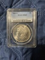 1880 P PCGS MINT STATE 63 MORGAN SILVER DOLLAR $1 BETTER DATE  LUSTER, KEY PCGS MINT STATE 63