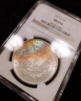 1879-S NGC MINT STATE 63  STAR  RAINBOW TONED MORGAN GREAT COLORS LUSTER BOMB