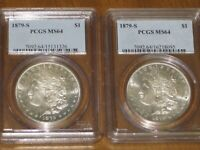LOT OF 2 - 1879 S MORGAN SILVER DOLLARS PCGS MINT STATE 64