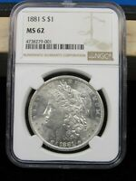 1881 S MORGAN SILVER DOLLAR NGC MINT STATE 62