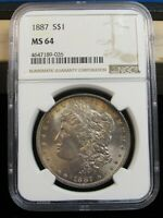 1887 P MORGAN SILVER DOLLAR NGC MINT STATE 64 TONED